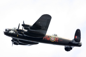 Lancaster flying over Bletchley Park
