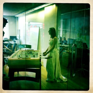 Table football in a wedding dress