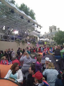Media stands and lots of happy campers outside the Abbey