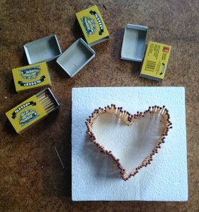 Heart made of matches